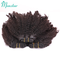 Monstar Brazilian Afro Kinky Curly Coily Weave Remy Human Hair 1/3/4 Natural Black Unprocessed Brazilian Hair Weave Bundles