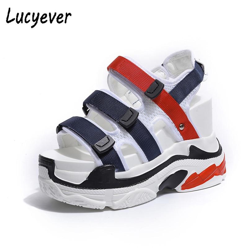 Lucyever Women Sandals Summer Platform Sneakers Wedges Elevator Shoes Woman Super High Heels Creepers Sandalia Mujer