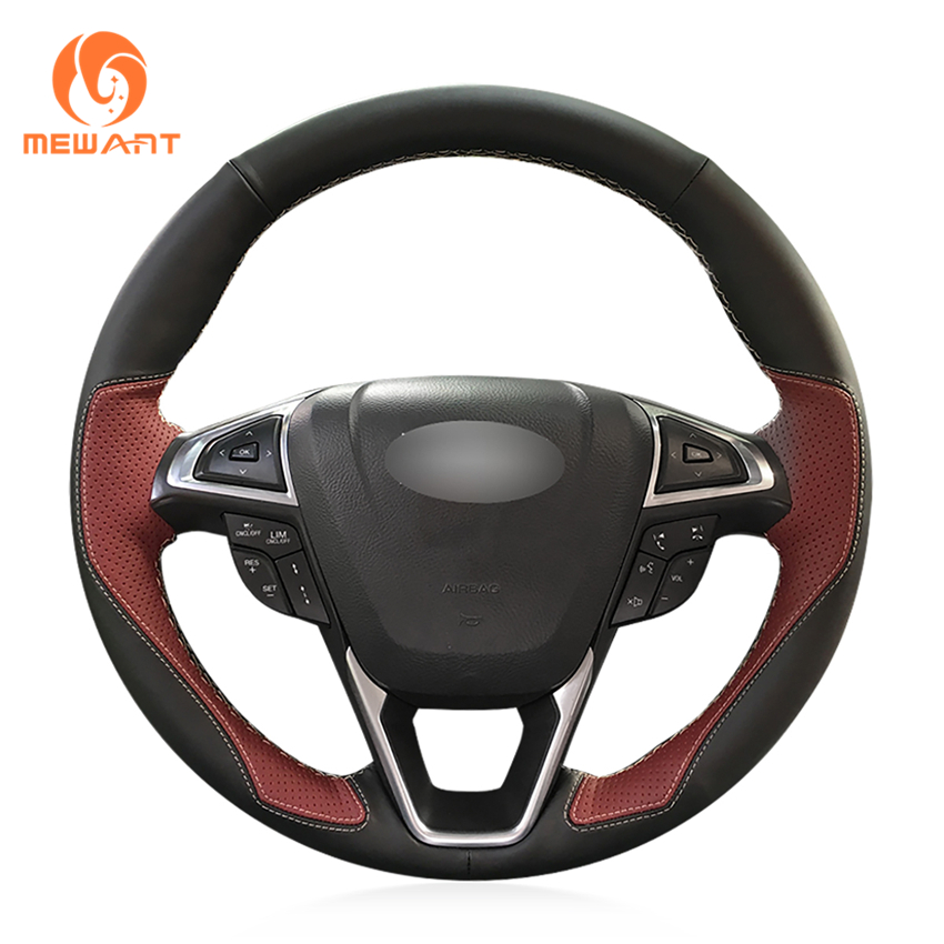 MEWANT Black Leather Wine Red Leather Car Steering Wheel Cover for Ford Fusion Mondeo 2013 2014 EDGE 2015 2016 mewant wine red leather black suede car steering wheel cover for chevrolet cruze 2009 2014 aveo 2011 2014 orlando 2010 2015