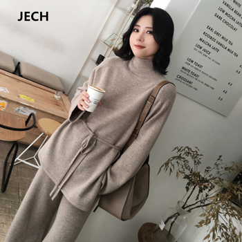 JECH Winter Women Cashmere Wool Suits Lady Casual Pullovers and Pants Fashion Elegant Warm Sweaters with Belt Casual Pant Female
