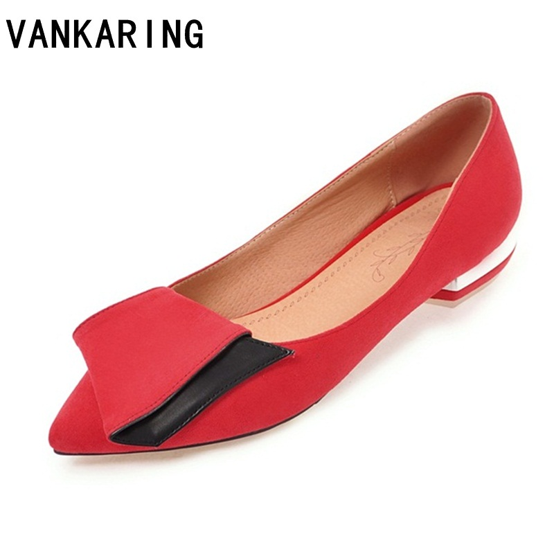 VANKARING faux suede leather shoes women pumps new 2018 spring summer low heels sexy pointed toe shoes ladies dress causal shoes