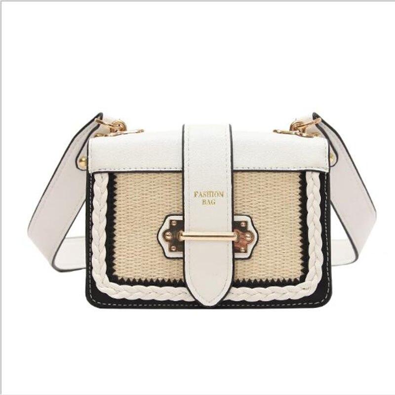 Hot New 2018 Fashion Women Straw Bag Big Capacity High PU Shoulder Bag Wide Strap Cover Patchwork Handbag White Black