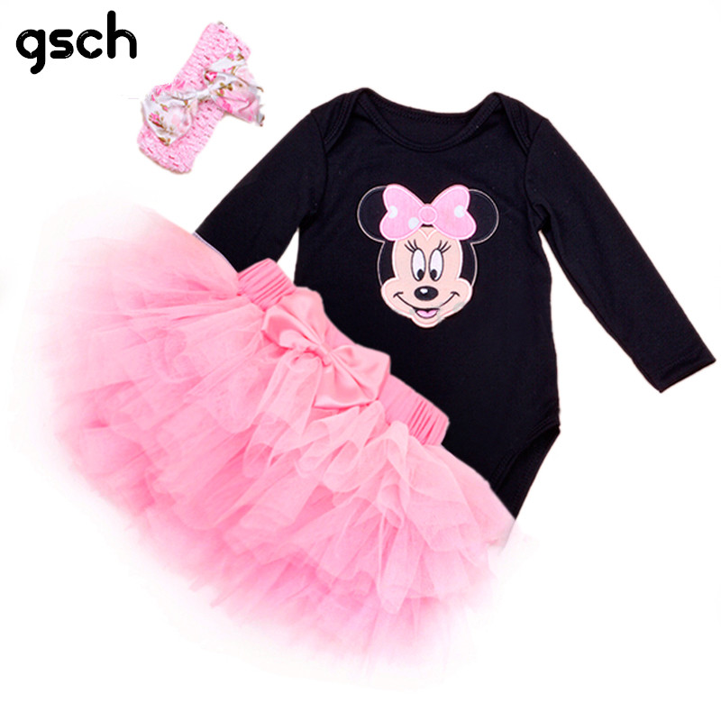 Girl Child Clothes Set Full O-Neck Baby Romper Pink Princess Tutu Skirt Headband Newborn Christmas Outfit 3pcs vetement minnie sardiff 2017 body 3 set baby girls summer clothes heart suits newborn bobysuit romper pink tutu skirt socks outfits clothing set