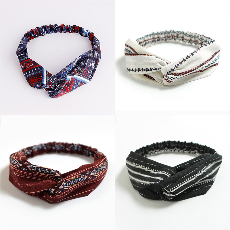 2018 New Headbands For Women Print Chiffon Boho Ethnic Style Elastic Hairbands Lady Hair Ornament Holder Hair Bands Accessories