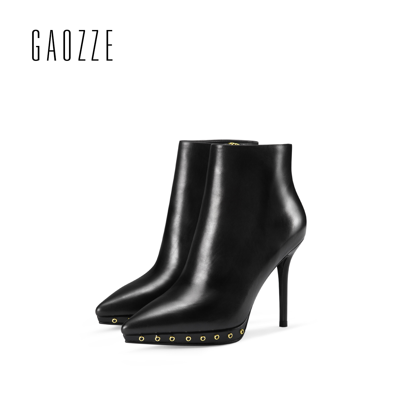 Genuine Leather Women Black Ankle Boots 2017 new women high heel platform boots female pointed side zipper rivets ankle boots