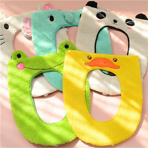 Cute Soft Warm Long Plush Toilet Seat Cover Mat Pad Lid Washable Warmer Health Toilet Closestool Seat Cover Sanitary Ware Suite