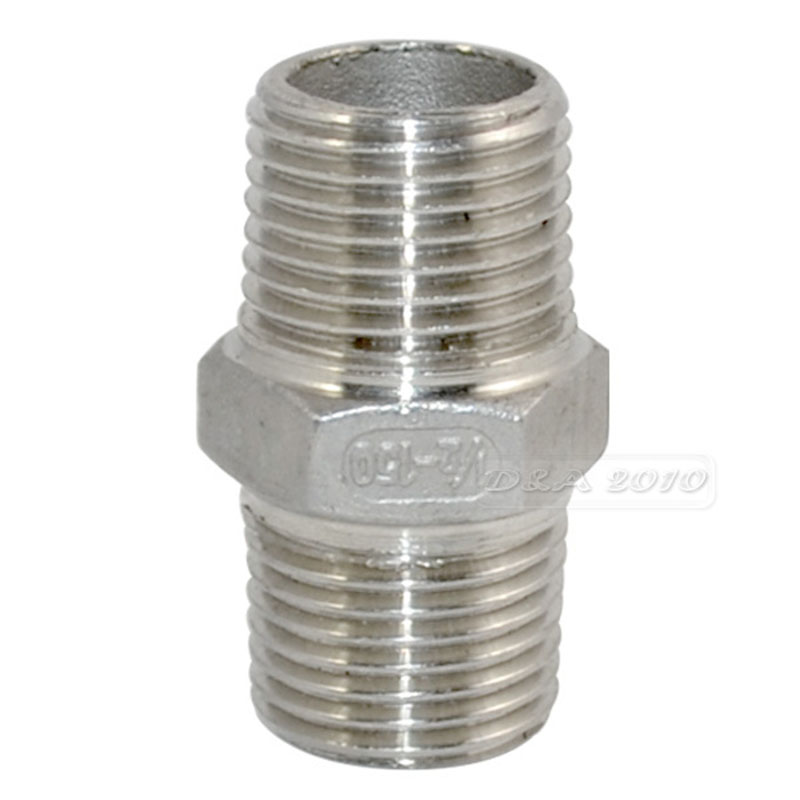 MEGAIRON 1/2 Hex Nipple M/M Male*Male Stainless Steel SS304 Threaded Pipe Fittings 40mm Length 2 x1 1 2 female nipple threaded reducer pipe fittings stainless steel ss304 new good quality