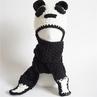 Novelty Cosplay Panda Hooded Scarf Hats Beanies Handmade Crochet Winter Neck Warmer Wrap Children Animal Caps
