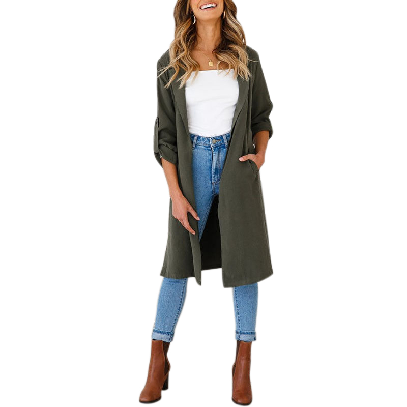 Autumn Winter Women Swallowtail Woolen Long Army Green   Trench   Dovetail Slim Blazer Dress Goth   Trench   Outwear