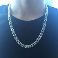 316L Stainless Steel 9mm Width 60mm Flat Link Chain Long Necklace Men Jewelry Rock Chunky Necklaces