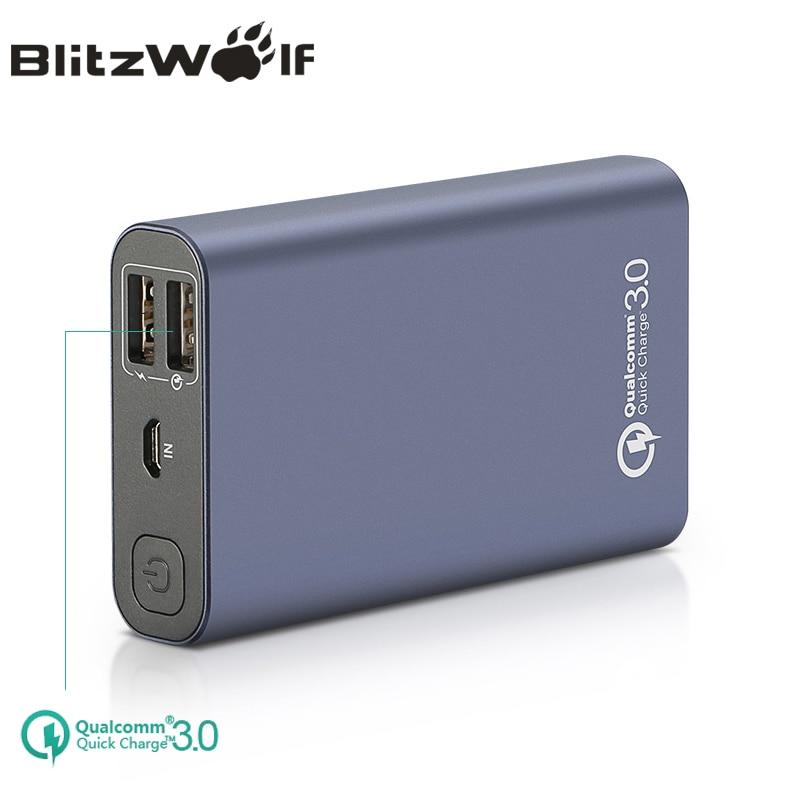 imágenes para BlitzWolf BW-P3 Original Cargador de Teléfono Universal 10000 mAh 18 W QC3.0 Rápida 3.0 Puerto Dual USB Banco de la Energía de Batería Externa