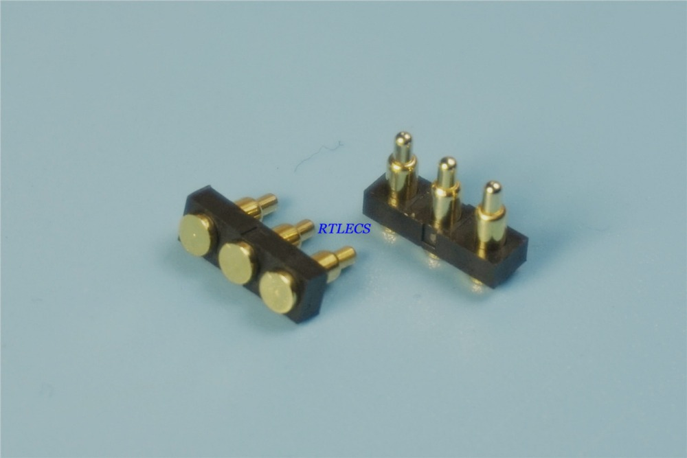 100pcs Spring loaded pogo pin connector 3 Pin Pitch 2 54mm Surface Mount PCB SMT brass