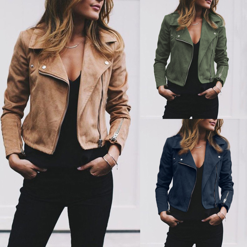 Fashion Women's Ladies Leather Jackets Casual Coats Zip Up Biker Flight Tops Clothes
