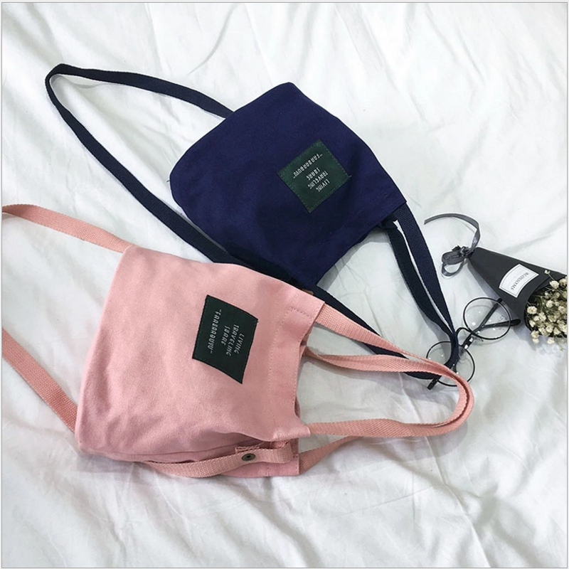 Korea Letter College Wind Simple Student Canvas Bag Shoulder Bag Messenger Bag Corssbody Tote