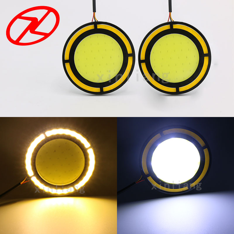 2Pcs 12V LED 70mm Round Car Driving Daytime Running Light White DRL Yellow turn signal Fog Lamp Bright Work Light 1pcs high power h3 led 80w led super bright white fog tail turn drl auto car light daytime running driving lamp bulb 12v