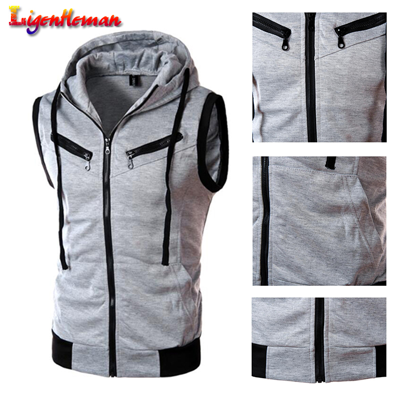 Men Fashion Cotton Solid Color Hooded Waistcoat Casual Brand Male Sleeveless Jacket Zipper Pocket Gilet Men Vest Plus Size XXXL