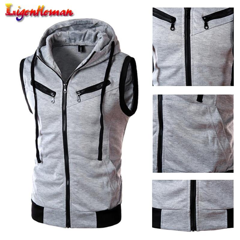 Men Fashion Cotton Solid Color Hooded Waistcoat Casual Brand Male Sleeveless Jacket Zipper Pocket Gilet Men Vest Plus Size XXXL