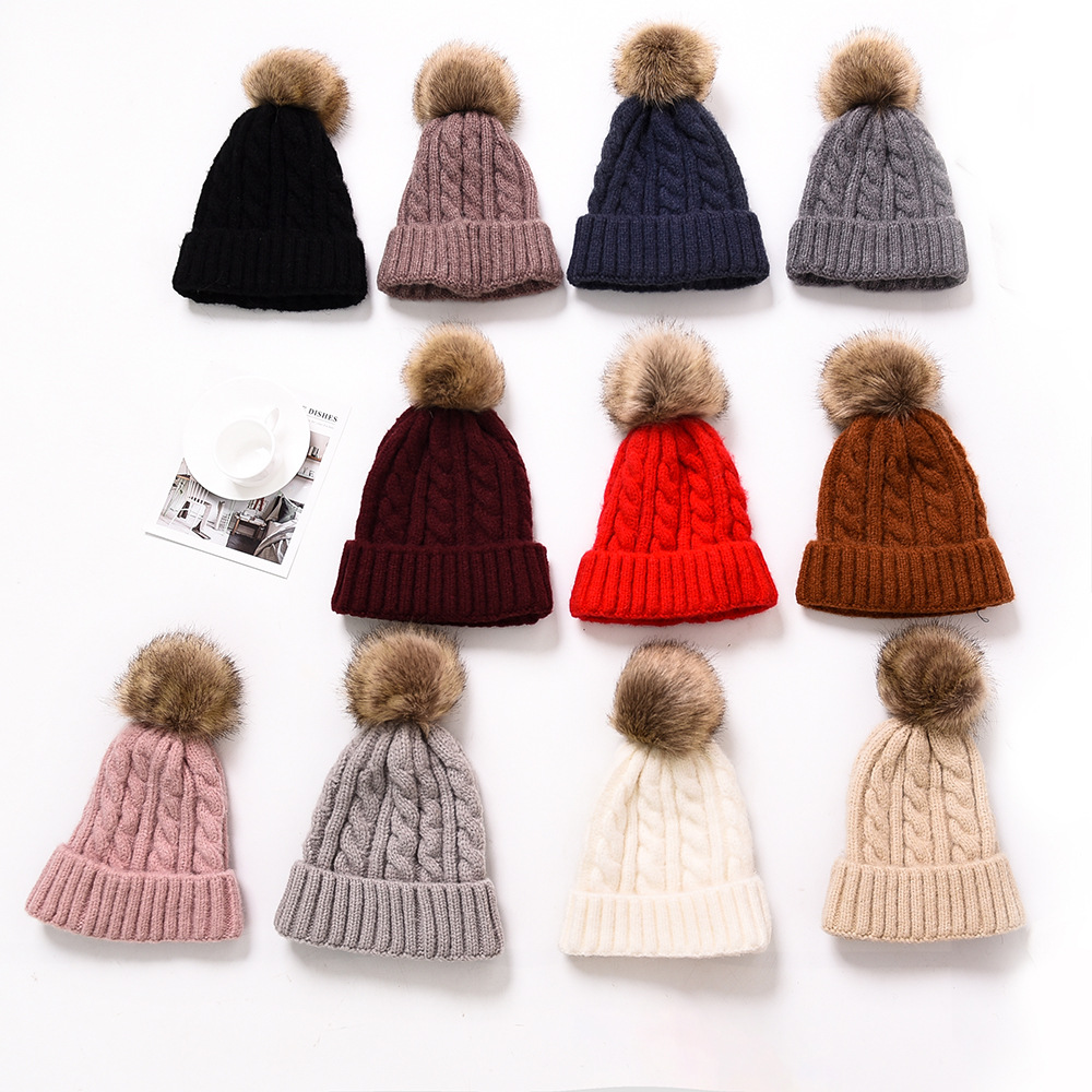 efe2c9a0081 Wholesale Faux Fur Pom Poms Knitted Hat Ball Beanies Winter Hat For Women  Girl  S Hat Cotton Skullies Female Cap