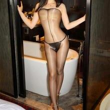 Meias-calças sexy brilhantes, óleo, para mulheres, lingerie sexy, transparente, virilha aberta, sem costura, de nylon meia-calça