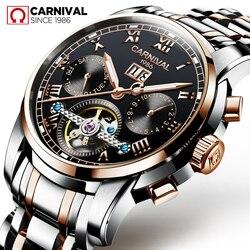 Karnawał mężczyźni mody zegarek automatyczny mechaniczny Sapphire wodoodporne świetliste Auto data tydzień zegarki mężczyźni Sport zegar Tourbillon|Zegarki mechaniczne|Zegarki -