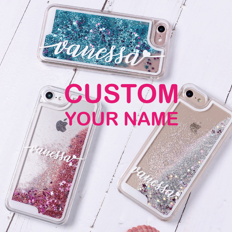 TOMOCOMO Personalized Custom Liquid Glitter Silver Sparkle Name Text Hard Phone Case For iPhone