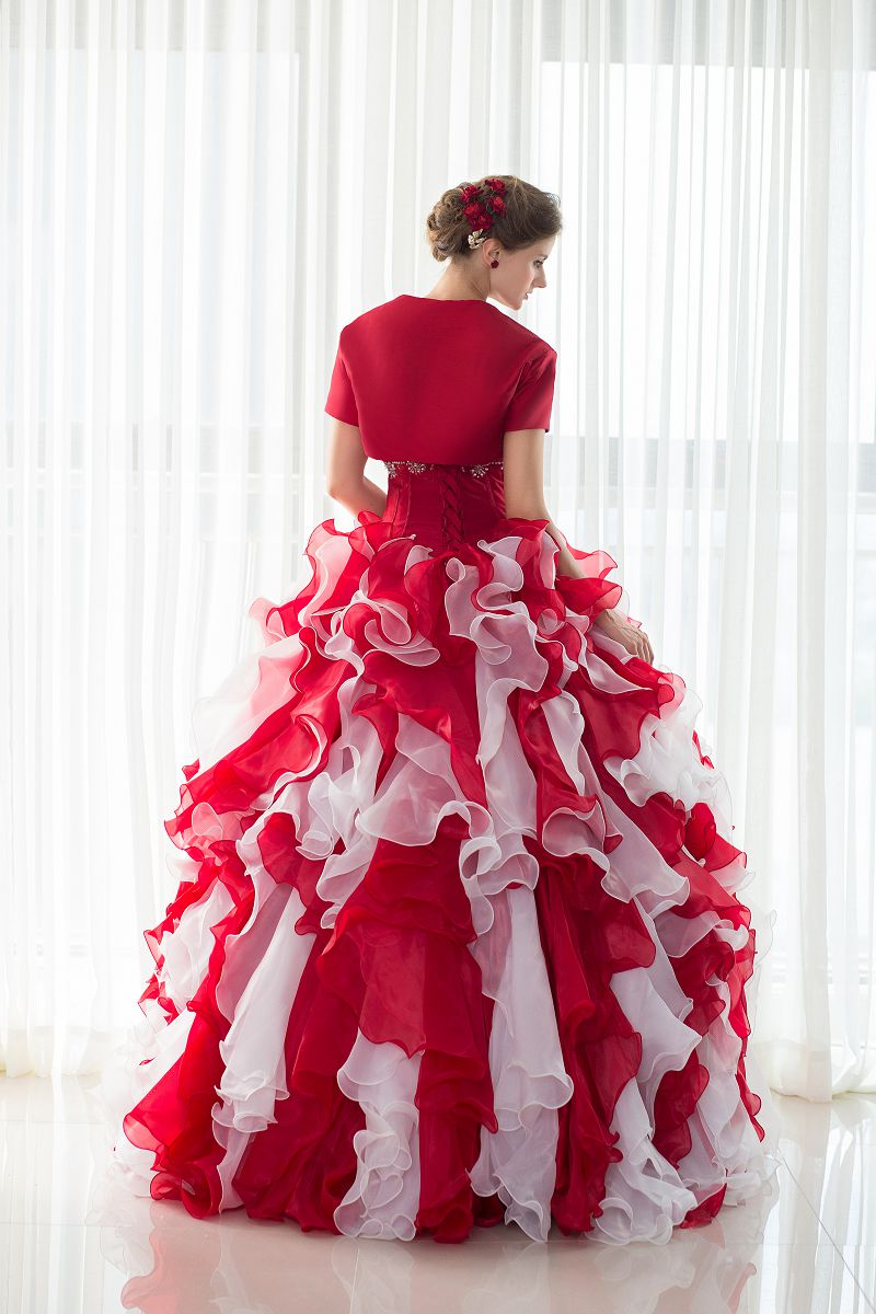 Beauty Emily Long Red Applique Lace Wedding Dresses Lace Up Floor ...