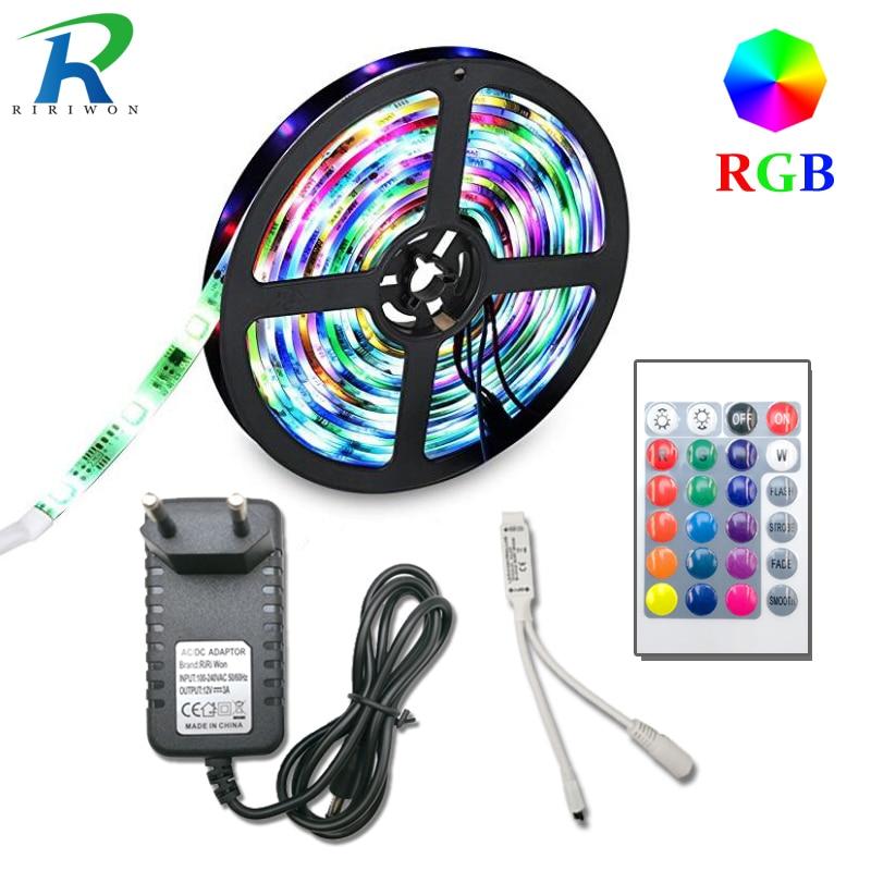 Купить на aliexpress 5, 10 м, 15 м, 20 м SMD 2835 RGB Светодиодные ленты света гибкий светодиодный лента диод водонепроницаемый 220 V 24key контроллер постоянного тока 12 V адапт...