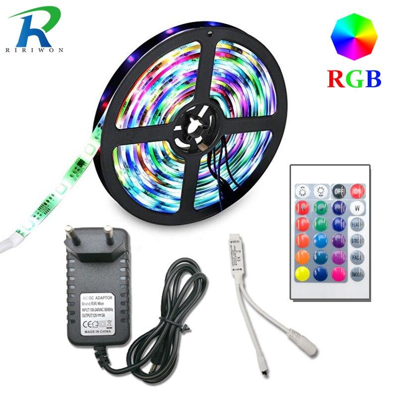 5 m 10 m 15 M 20 m SMD 2835 RGB LED Luz de tira flexible llevó la cinta de diodo de cinta impermeable 220 V 24key controlador DC 12 V adaptador conjunto