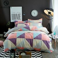 100%cotton Home Textile 4pcs Colorful Bedding Sets Pretty Geometric Plaid Duvet Cover Sets Pillowcases Pillow Covers