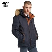 HAI YU CHENG Winter Jackets Mens Parka Men Orange Patchwork Fur Collar Hood Removable Winter Coat Male Parkas Man Brand Fashion