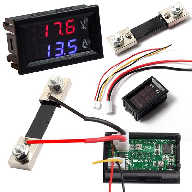 Dc100v 100a digital voltímetro amperímetro amp volt medidor de corrente shunt azul vermelho led dupla exibição