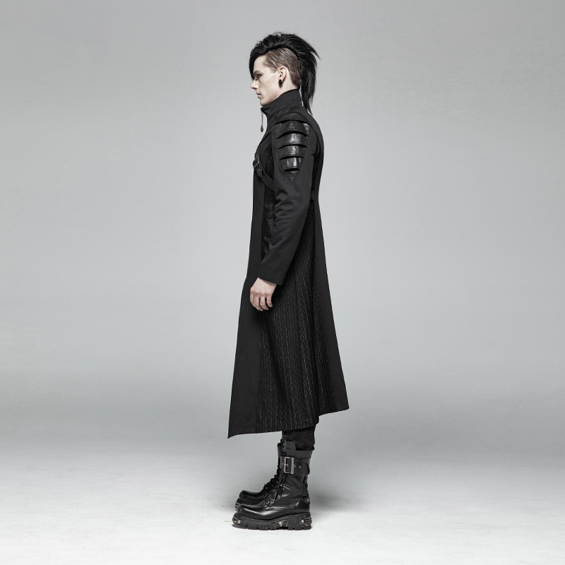 Image 2 - PUNK RAVE Gothic Men's Black Armor Mid length Jackets Coat Steampunk Military Men Coat Stage Performance Costumes Visual Kei-in Jackets from Men's Clothing