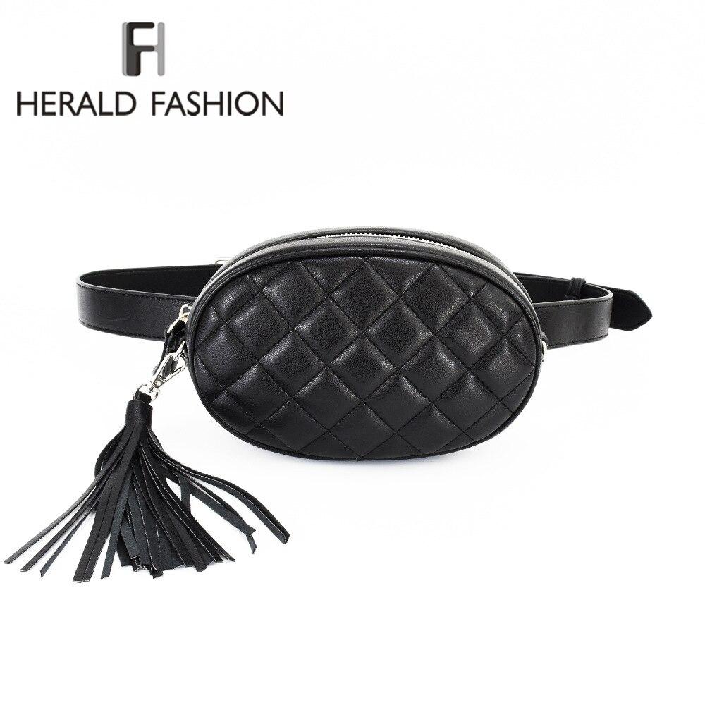 Herald Fashion Women Waist Bag with Tassel Female Round Belt Bag Luxury Brand Quality Leather Chest Handbag with Chain Strap