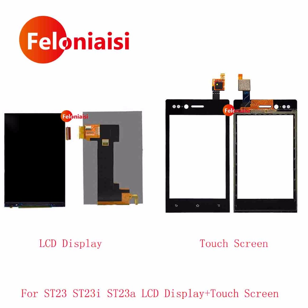 High Quality 3.2'' For Sony Xperia Miro ST23 ST23i ST23a LCD Display With Touch Screen Digitizer Sensor Outer Glass Lens Panel