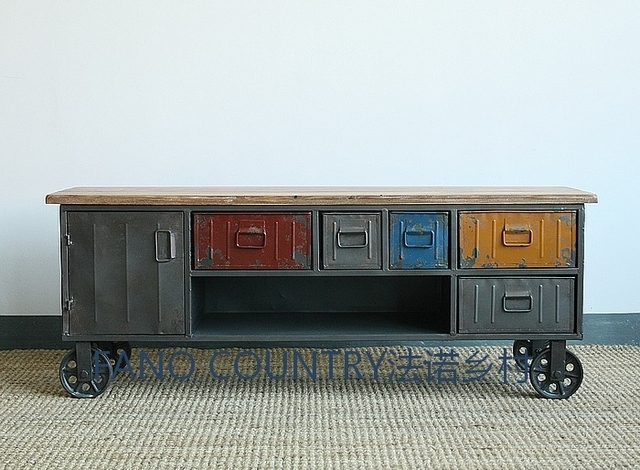 American to do the old / antique wrought iron vintage industrial furniture  TV cabinet to do - American To Do The Old / Antique Wrought Iron Vintage Industrial