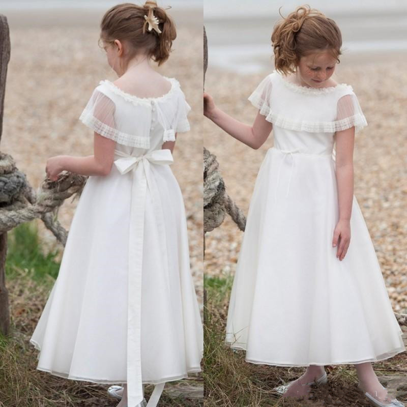 Pretty Ankle Length Flower Girl Dress with Buttons Ribbon First Communion Gowns Tulle Kids Prom Dress Cheap Price Custom MadePretty Ankle Length Flower Girl Dress with Buttons Ribbon First Communion Gowns Tulle Kids Prom Dress Cheap Price Custom Made