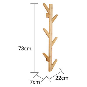 Image 5 - Nordic Style Coat Rack New 6 Hooks Wall Shelves Bamboo Wooden Hanging Rack living Room Bedroom Decoration Wall Hanger
