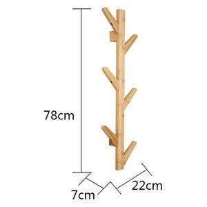 Image 5 - Styl skandynawski wieszak na kurtki nowy 6 haczyków półki ścienne bambusowy drewniany wieszak salon dekoracja sypialni wieszak