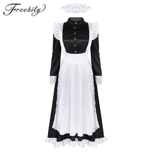 Image 1 - Sexy Adult Woman French Maid Servant Cosplay Costume Black&White Maid Costume Halloween Party Long Dress  + Apron + Headpiece