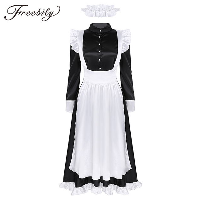 Sexy Adult Woman French Maid Servant Cosplay Costume Black&White Maid Costume Halloween Party Long Dress  + Apron + Headpiece