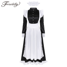 Sexy Volwassen Vrouw Franse Dienstmeid Cosplay Kostuum Black & White Maid Kostuum Halloween Party Lange Jurk + Schort + hoofddeksel