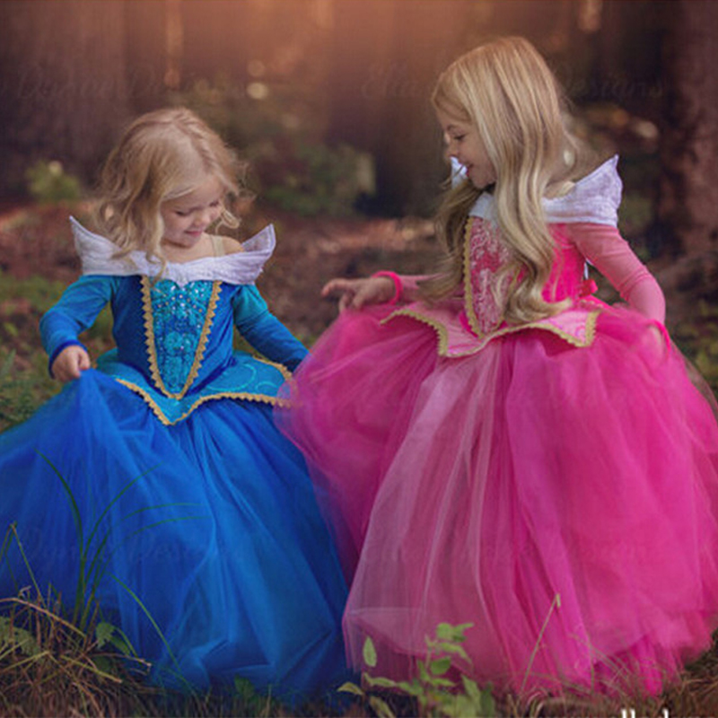 Girls Princess Sleeping Beauty Elsa Cinderella Girl Dress Kids Cosplay Dress Up Halloween Costumes For Kids Tulle Party Dress light blue elsa dress girls princess dress kids wedding birthday party tutu dress tulle baby girl halloween cosplay elsa costume
