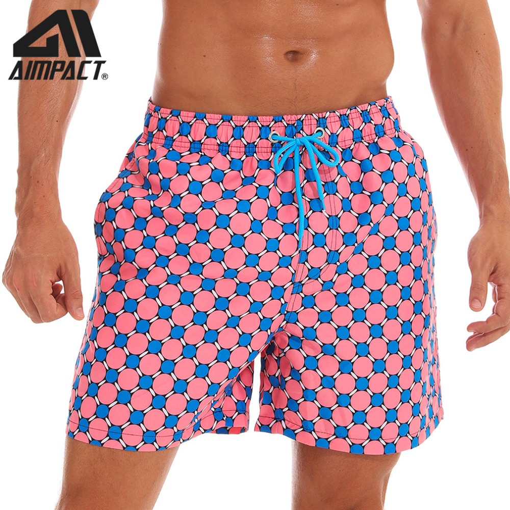 Aimpact Men's Quick Dry   Board     Shorts   Hybrid Leisure Homewear Holiday   Shorts   Dot Grid Plus Size Beachwear Surf Swim Trunks AM2191