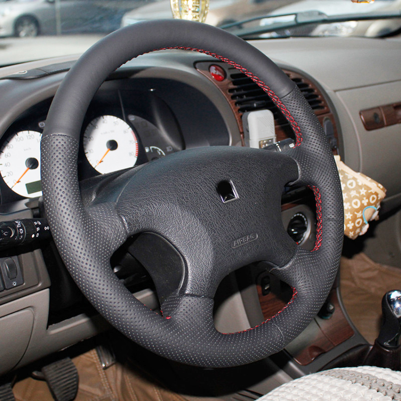 Hand stitched Black Leather Steering Wheel Cover for Citroen Elysee c elysee Citroen Xsara Picasso