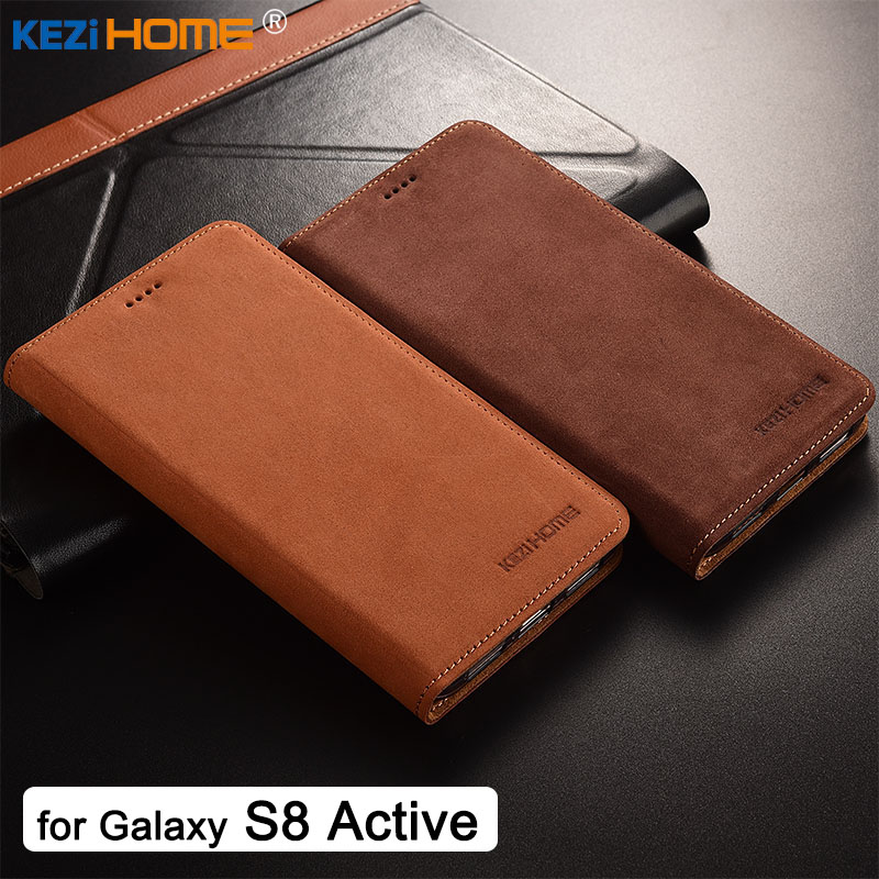 For Samsung Galaxy S8 Active Case KEZiHOME Luxury Matte Genuine Leather Flip Stand Leather Cover For