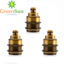 GreenSun 3Pcs Antique Brass E27 E26 Light Bulb Holder Lamp Base Retro Vintage Antique Copper Socket Fitting Cord Grip(China)