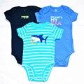 3 ciep/lote 2016 nova moda infantil meninos roupas peixes dos desenhos animados macacão romper do bebê desgaste do bebê da menina do menino freedrop envio clothing