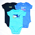 3 piecs/lot 2016 New Fashion Kids Boys Clothes Cartoon Fish Rompers Boy Girl's Wear Baby Romper Baby Clothing Freedrop Shipping