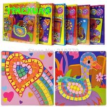 6 designs/set Kids EVA Mosaic Stickers 3D Art Crafts Puzzle AnimalsTransport Children's DIY Educational Toy