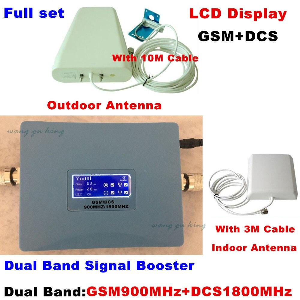 Amplificateur de signal à double bande à affichage LCD répéteur gsm 900 1800 2G 4G GSM DCS amplificateur de signal mobile 900 mhz/1800 mhz
